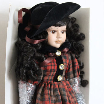 "Nancy, Brunette Porcelain Doll, 16"" Vintage Limited Edition Victorian Unique Collection, Red Plaid Dress with Stand"