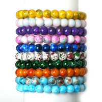 Handmade Natural Stone Stretch/Elastic Glass Beads Charm Bracelets Fashion