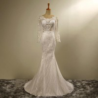 New Design Mermaid Long Sleeves Wedding Dress Scoop Neck With Lace Up Back Bridal Gown Plus Size Robe De Soiree