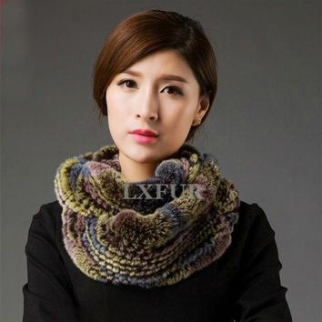 VONESC6 Womens Genuine Fur Scarves Lady Rex Rabbit Fur Muffler Winter Real Fur Neckwarmer Multicolor Natural Fur Wraps LX00495