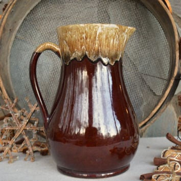 Vintage Extra Roseville Pitcher, Roseville Brown Drip Glaze Pottery, Brown Drip Serving Piece