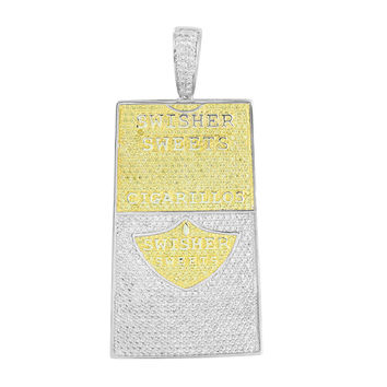 Swisher Sweets Cigarillos Pendant Canary White Simulated Diamonds