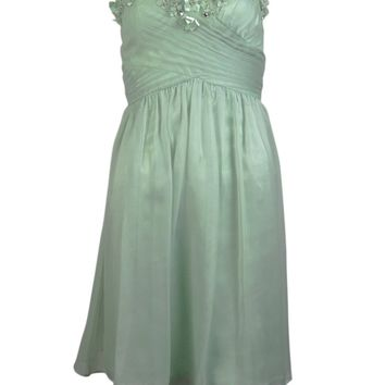 Adrianna Papell Women's Beaded Applique Strapless Chiffon Dress