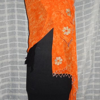 Chiffon Tangerine Beaded Scarf ~ Evening Wrap ~ Shawl with Colorful Daisy Embroidery