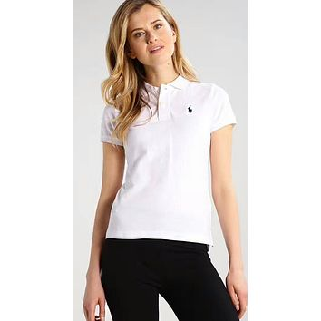 Polo Ralph Lauren Popular Women Embroidery T-Shirt Top Tee Sapphire White I-KWKWM