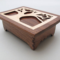 Wood Keepsake Box - Tree of Life Design in Black Walnut Wood with Maple Inlay Lid - Timber Green Woods
