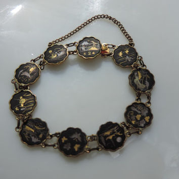 Antique Japanese Damascene Bracelet 24kt Gold Inlay Hand Crafted Art Scenes featured on Charms