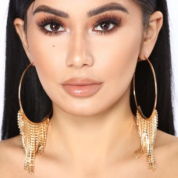 Diamond Drip Hoop Earrings - Gold
