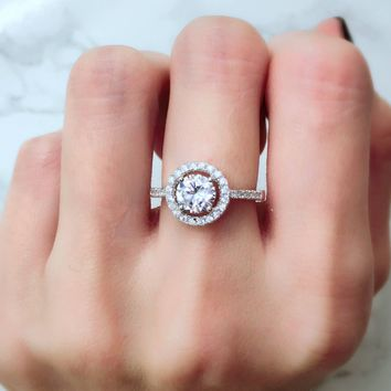 Classic Round Halo Engagement Prong Set Diamond Simulant CZ Sterling Silver Ring