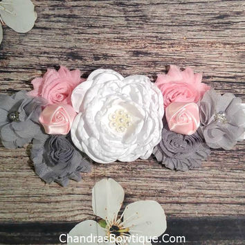 White Gray and Pink with Pink Roses on White Sash Maternity Sash