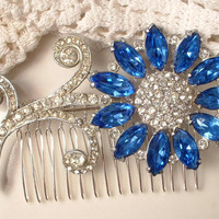 HAiR CoMB or BRooCH, Art Deco 1920s Sapphire Dark Blue Rhinestone Bridal, True Vintage Heirloom Brooch or OOAK Silver Hair Comb Large GATSBY