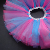 Cotton Candy Tutu (hot pink, bright blue, and lilac)- Infant: Newborn tutu, tulle tutu, infant tutu, baby tutu, baby girl tutu, girl tutu