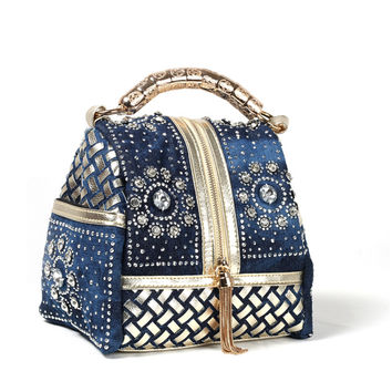 2017 New Design Denim Knitted Diamond Handbag Woman Hand Made Rivet Tassel Denim Shoulder Bag Rhinestone Small Bags Many Colors
