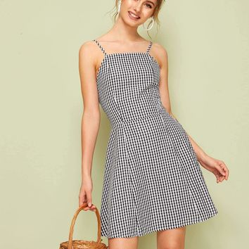 Gingham Print Cut Out Back Slip Dress