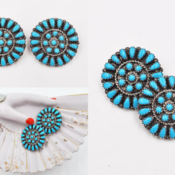 Vintage Zuni Sterling Silver Petit Point Turquoise Clip Earrings, Sleeping Beauty, Round, Signed, Native American, Cluster!  #b583