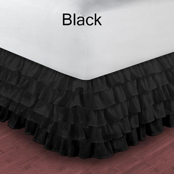 1000TC Egyptian Cotton Black Multi Layered Ruffle Bed Skirt  - Available in All Size