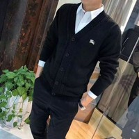 Burberry Men Knitwear Fashion Casual Simple Embroidery Long Sleeve V-Neck Buttons Cardigan Knit Sweater Coat