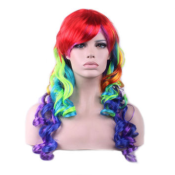 New Colorful Anime Wigs long Curly Wig Hair Cosplay Wig Role Playing Ball Party
