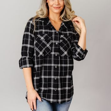 Hooded Plaid Button Up Top