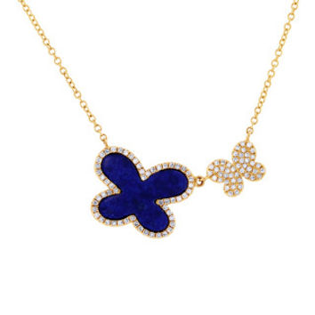 0.25ct Diamond & 1.27ct Lapis 14k Yellow Gold Butterfly Necklace