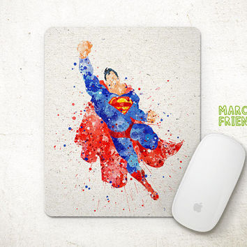 Superman Watercolor Art, Man of Steel Mouse Pad, Mousepad, Home Decor, Gift, Art Print, Desk Supplies, Kid's Room, Superhero Accessories