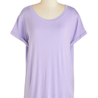 ModCloth Pastel Long Short Sleeves Simplicity on a Saturday Top in Lavender