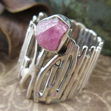 Ruby (Rough) Gemstone Sterling Silver Ring - Size 6.5
