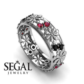 Anniversary ring 14K White Gold Flowers Antique Ring Black Diamond With Ruby - Aria