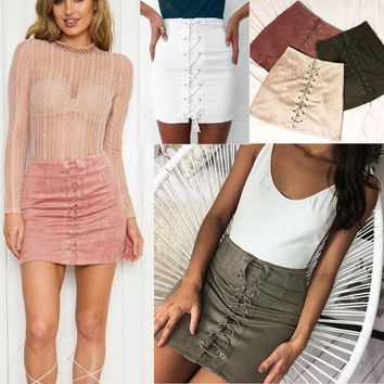 Fashion Womens PU Leather Skirt High Waist Slim Party Pencil Mini Lace UP Skirt
