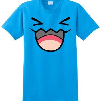 Pokemon WOBBUFFET Pikachu Front and Back Men Blue Tshirt