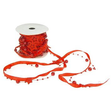 Satin Bead and Ribbon Christmas Garland with Wooden Star Cutout, Red, 5 yards