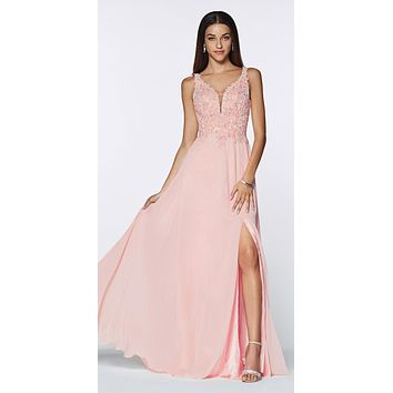 CLEARANCE - Floor Length A-Line Chiffon Gown Light Peach Lace Bodice With Slit (Size Medium)