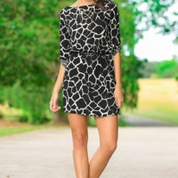 All I Do Black Print Dress