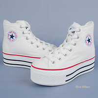 """Women Hi Top Canvas 2"""" Platform Sneakers Shoes Black,White,Red,Pink,Blue,Yellow"""