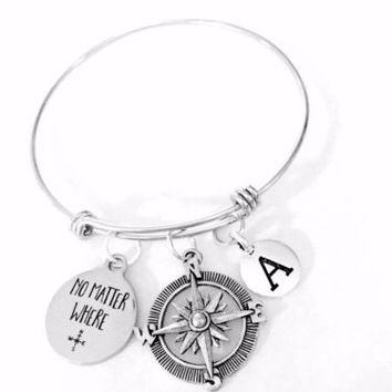 No Matter Where Compass Initial Long Distance Adjustable Bangle Charm Bracelet