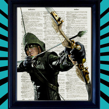 Arrow Drawing Bow Stephen Amell as Oliver Queen Poster DC Comics Awesome Upcycled Vintage Dictionary Page Book Art Print 8x10