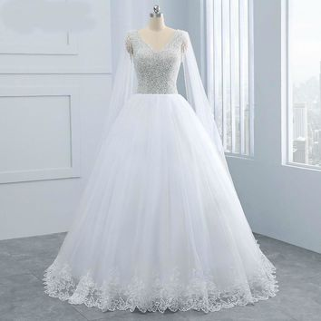 Pretty heavy Pearls Beading Vintage Princess Wedding Dresses With Wrap Ball Gown New Wedding Dress