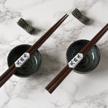 Ceramic Mini Bowls / Set of 2 Ceramic Soy Bowls with Chopsticks and Chopesticks Rests / Small Soy Dish / Sushi Dipping Bowls / Soya Dishes