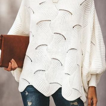 White Crew Neck Batwing Sleeve Women Knit Sweater