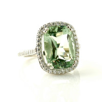 14K Green Amethyst Ring Diamond Halo Custom Engagement Ring Gemstone Ring Birthstone Ring
