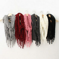 Women Fashion Long Warm Knit  Infinity Tassels snood  Scarf Lovers Scarf Shawl
