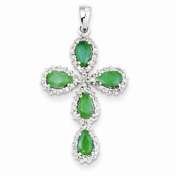 14k White Gold Diamond & Emerald Cross Pendant