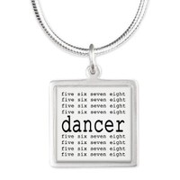 dancer numbers Silver Square Necklace