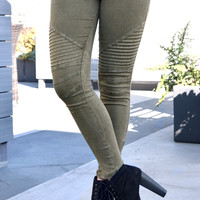 Biker Jeggings - Olive