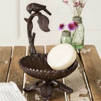 Set of 2 Cast Iron Bird on a Branch Candle Stand