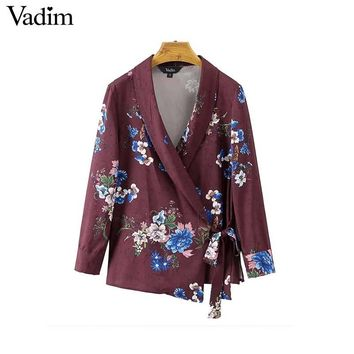 Women vintage floral kimono wrap shirts bow tie side split long sleeve blouse retro outerwear tops