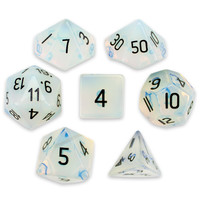Set of 7 Handmade Stone Polyhedral Dice, Opalite