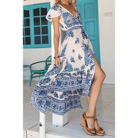 Bohemian Plunging Neck Short Sleeve Printed Women's Dress
