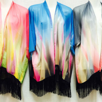 tie dye kimono cover up with fringe Case of 12