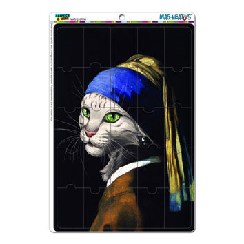 The Girl with the Pearl Earring Cat - Painting Johannes Vermeer MAG-NEATO'S TM Puzzle Magnet